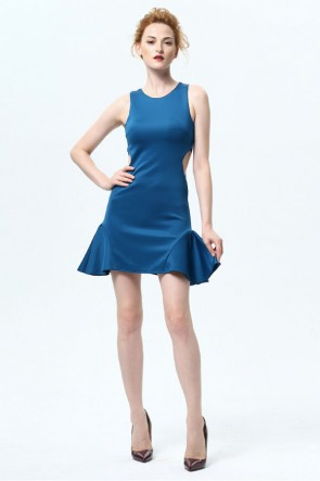 Short Mini Blue Cut Out Party Homecoming Dresses TCDMU0040