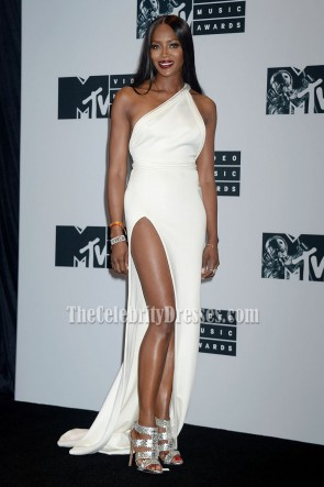 Naomi Campbell White One Shoulder Evening Prom Dress 2016 MTV Video Music Awards 5