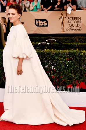 Natalie Portman weißes langes Hülsen-Ballkleid 2017 SAG-Preis-Abend-Kleid