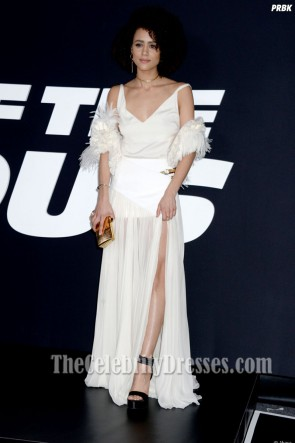 Nathalie Emmanuel Premiere of The Fate of the Furious White Evening Dress