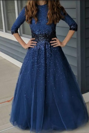Navy Blue Sparkly Ball Gown With Long Sleeves