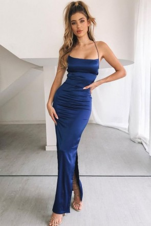 Navy Sexy Mermaid Spaghetti Straps Cocktail Dress