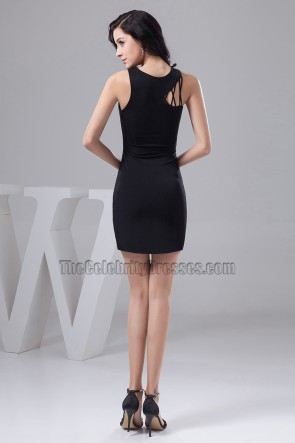 New Style Asymmetric Short Mini Black Party Homecoming Dresses