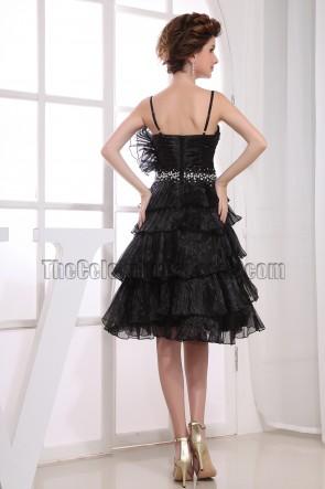 Perlen A-Line schwarz Abschlusskleid Cocktailkleid