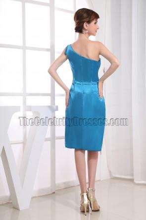Blaue knielange Cocktailkleider mit einer Schulter Brautjungfernkleider