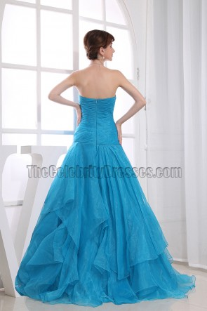 Blue Strapless Sweetheart  A-Line Prom Gown Formal Dress