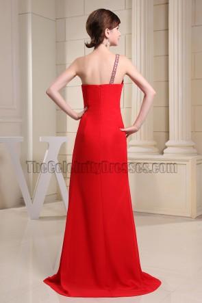 Rote Perle Ein Schulter Abendkleid