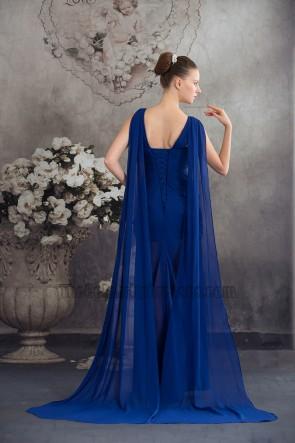 New Style Königsblau Chiffon Perlen Festzug Abendkleid
