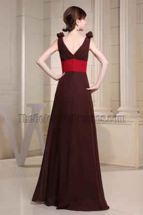 Braune und rote Chiffon Abendkleid