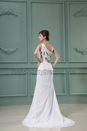 White Sequined Cut Out Backless Prom Gown Evening Dresses