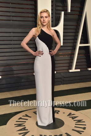 Nicola Peltz 2017 Vanity Fair Oscar Part White And Black One Shoulder Evening Dress 1