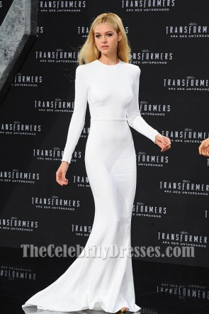 Nicola Peltz White Prom Dress European premiere of 'Transformers: Age of Extinction'