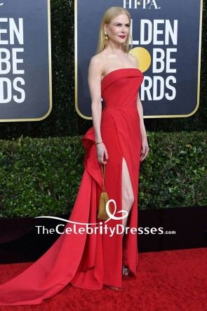 Nicole Kidman Red Strapless Evening Dress 2020 Golden Globes TCD8815