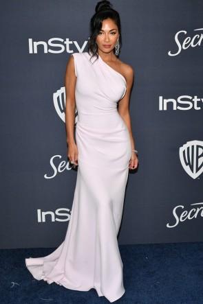 Nicole Scherzinger White One-shoulder Evening Dress