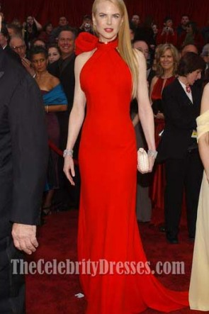 Nicole Kidman Red Halter Formal Dress Oscar Awards 2007 Red Carpet