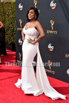 Niecy Nash weißes trägerloses langes rotes Teppich-Abend-Kleid 68. Emmy Awards