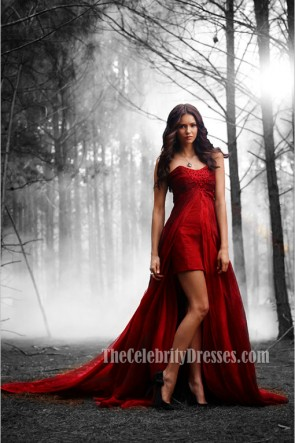 Nina Dobrev Red Strapless Hi-Low Prom Dress Evening Celebrity Dresses