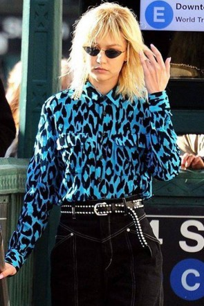 Gigi Hadid Blue Leopard Pockets Shirt