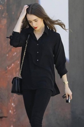 Lily Collins Black Casual Shirt