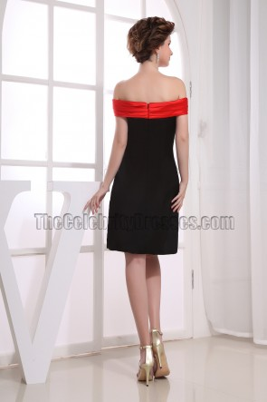 Black And Red Off-the-Shoulder Cocktail Party Graduation Dresses