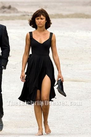 Olga Kurylenko Black Cocktail Dress Move Quantum of Solace
