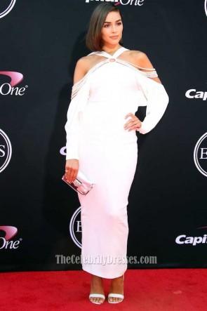 Olivia Culpo White Haler 3/4 Sleeves Beaded Evening Prom Dress 2017 ESPYs