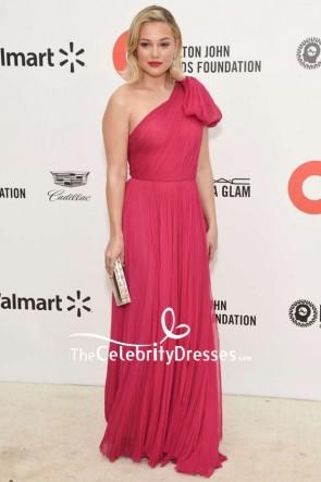 Olivia Holt One-shoulder Fuchsia Prom Dress TCD8894