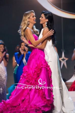 Olivia Jordan Fuchsia Strapless Ruffled Ball Gown Miss USA 2015 TCD7731