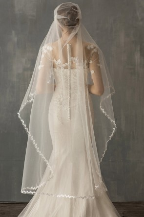 One-tier Applique Edge Waltz Bridal Veils, Wedding Veils