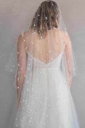 One-tier Bridal Veils With Faux Pearl