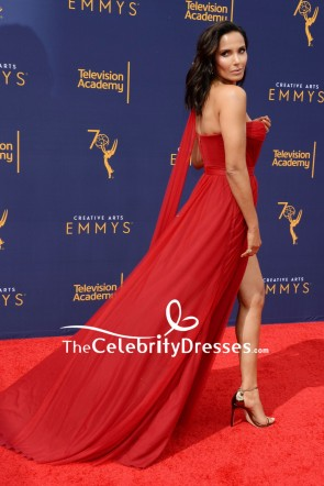 Padma Lakshmi Dark Red One-shoulder Thigh-high slit Evening Dress 2018 Creative Arts Emmy Awards TCD8046
