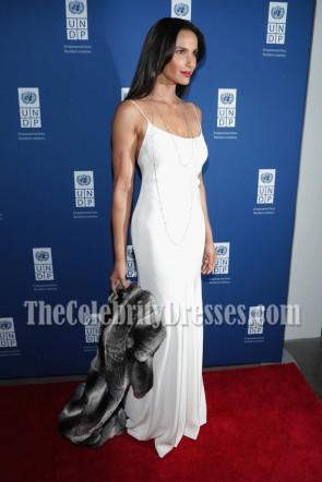 Padma Lakshmi Weiß Slip Spaghetti Straps Abend Abendkleid UNDP Inaugural Globale Ziele Gala