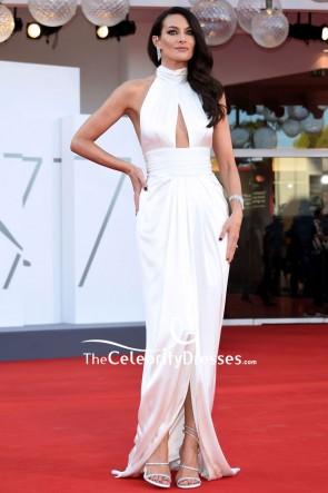 Paola Turani White Halter Formal Dress 2020 Venice Film Festival Red Carpet