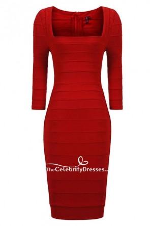 Paulina Gretzky sexy rotes Bandage Club Kleid mit Ärmeln