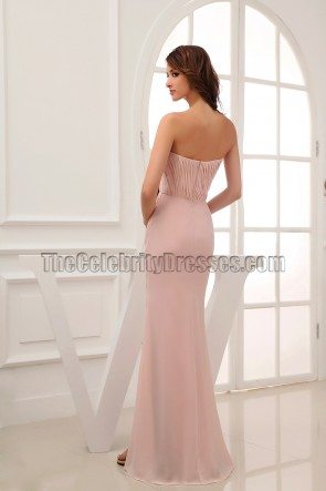 Pearl Pink Strapless Bridesmaid Dresses Prom Gown