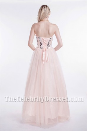 Strapless Sweetheart Sequined A-Line Lace Up Prom Evening Dresses