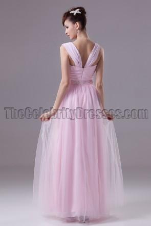 Perlrosa Tüll Abendkleid Brautjungfernkleid