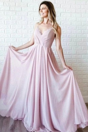 Pink V-neck Spaghetti Straps Bridesmaid Dress
