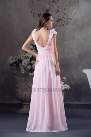 Rosa Chiffon bodenlanges Abendkleid Brautjungfer Ballkleid