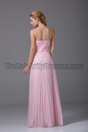 Pink Strapless Prom Gown Bridesmaid Evening Dresses
