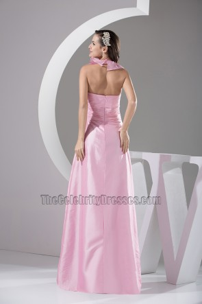 Pink Halter A-Line Floor Length Prom Gown Evening Dress