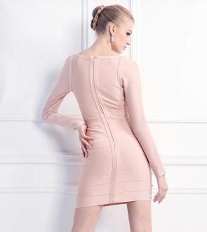Rosa lange Hülsen-Kurzschluss-Cocktailparty-Kleider Verband-Kleid mit Niet TCD5900
