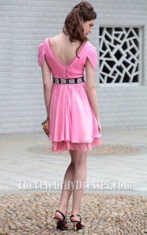 Pink Off-The-Shoulder Party Homecoming Graduation Dresses 6006