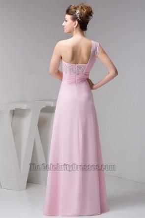 Rosa eine Schulter Chiffon bestickt Ballkleid Abendkleid