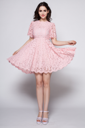 Pink Short A-Link Lace Cocktail Party Dresses