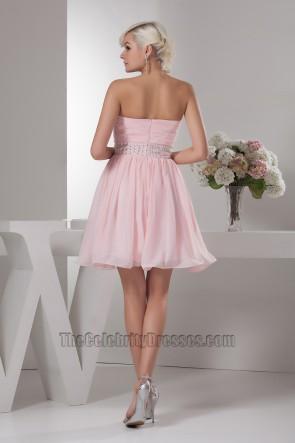 Rosa trägerloses Perlen-Heimkehr-Abschlussfeier-Kleid