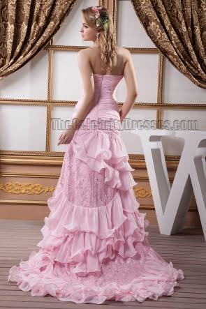 Rosa trägerloses Schatzperlen-Abendkleid des formellen Kleides