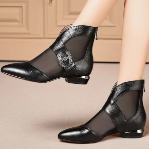 Pointed Mesh Low-heel Ankle Boots With Zipper