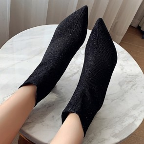 Pointed Toe Cap High Heels Sparkly Boots For Women