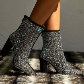 Pointed Toe Chunky Heels Rhinestone Crystal Ankle Boots With Zipper